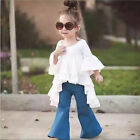 2pc Cute Kids Baby Girls Outfits Cotton tops,Denim Flared pants Clothes Sets Hot