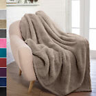 Soft Fuzzy Warm Cozy Throw Blanket with Fluffy Sherpa Fleece for Sofa Couch Bed image