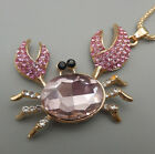 Women's Pink/blue Crystal Cute Crab Pendant Long Necklace