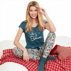 NEW LADIES EX-AVON LET IT SNOW CHRISTMAS PYJAMAS TEAL/GREY SIZE 22-24 RRP £16.99