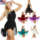 US - Women Adult Lyrical Ballet Dance Gymnastics Leotard Dress Ballroom Costumes