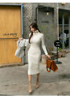 Women's elegant charming temperament high collar knitted dress KREDM32980#