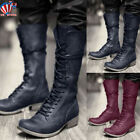 Men's Vintage Boots Medieval Steampunk Knight Mid Calf Lace Up Booties Shoes US