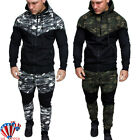Men's Camouflage Tracksuit Hooded Jacket Bottoms Hoodie Top Trousers Sport Suits
