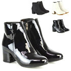 Womens Ankle Boots Block Low Heel Ladies Zip Casual Formal Booties Shoes Size