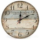 New Silent Vintage Wooden Round Wall Clock Arabic Numerals Vintage Home 12 Inch
