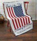 Personalized Home of the Brave Throw Blanket-Customized Patriotic Gift Present