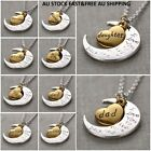 I Love You To The Moon & Back Crescent Moon Gold Heart  Pendant+necklace+ Pouch