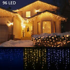 Xmas LED Icicle Snow Falling Outdoor String Light Fairy Curtain Wedding Party US