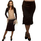 BROWN VELOUR PENCIL SEQUINED KNEE LENGTH  SKIRT  GOTHIC STEAM PUNK ALTERNATIVE