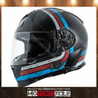 T14B Full Face Motorcycle Helmet Bluetooth Street Black Streamline Blue Red M
