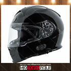 T14B Full Face Motorcycle Helmet Bluetooth Dual Visor Racing Sport Gloss Black L
