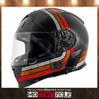 T14B Full Face Motorcycle Helmet Bluetooth Street Black Streamline Orange M DOT