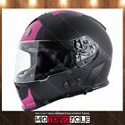 T14B Full Face Motorcycle Helmet Bluetooth Dual Visor Flat Black SS Pink M DOT