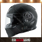 T14B Full Face Motorcycle Helmet Bluetooth Dual Visor Racing Sport Flat Black XL
