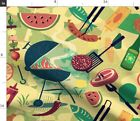 Summer Bbq Grill Out Burgers Beer Fruit Fabric Printed by Spoonflower BTY