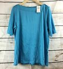 New J Jill Aegean Perfect Pima Elbow Sleeve Boat Neck Pullover Top - All Sizes