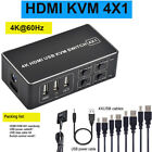 4 Port 4K HDMI USB KVM Switch 4X1 Switcher Splitter Box Control up to 4 Monitors