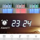 Modern Digital 3D LED Wall Clock Large Alarm Clock Snooze 12/24 Hour Display USB