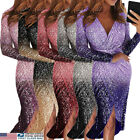 US New Ladies Sparkly Sequin Glitter Evening Dress Cocktail Slip Wrap Midi Dress