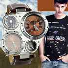 Men's Army Combat Wrist Watch Two Time Zones Compass Thermometer Decor USA image
