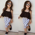 US Toddler Kids Baby Girl Clothes Sling Tops+Stripe Long Pants Outfits Summer