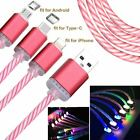Portable LED Light Up Sync Charger Data Cable Charge Cord for iOS Type-C Android