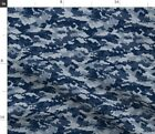 Camouflage Digital Camo Military Navy Blue Low Fabric Printed by Spoonflower BTY