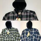 Boston Traders Men's Shirt Jacket Quilted Lining Flannel Hooded