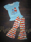 NEW Dr Seuss Cat in the Hat Shirt & Bell Pants Girls Boutique Outfit Set