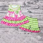 NEW Boutique Girls Floral Ruffle Tunic  Shorts Outfit Set