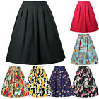 Womens Vintage Skirt Floral Printing High Waist Flared Pleated Midi Swing Dress