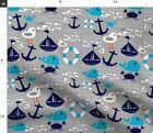 Gender Neutral Nautical Nursery Ships Whales Fabric Printed by Spoonflower BTY