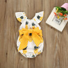 US Newborn Kid Baby Girls Cotton Romper Bodysuit Pineapple Print Clothes Outfits