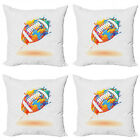 Ambesonne Sports Theme Cushion Cover Set of 4 for Couch and Bed in 4 Sizes