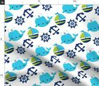Baby Whales Nautical Kawaii Kids Whale Anchor Fabric Printed by Spoonflower BTY