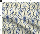 Nautical Steampunk Trellis Home Decor Lattice Fabric Printed by Spoonflower BTY