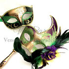 Mardi Gras Masquerade Feather stick mask Pair Costume Dress up Carnival Party