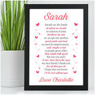 Personalised Friends Are Family Friendship Poem Gifts for Best Friends BFF Her