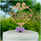 PERSONALISED Mr and Mrs Wooden Wedding Cake Topper Love Birds Cake Decoration
