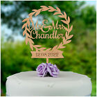 PERSONALISED Wooden Wreath Mr and Mrs Wedding Cake Topper Decoration Mr & Mrs