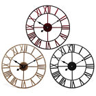 40Cm Vintage Roman Numerals Giant Open Face Metal  Wall Clock Large Outdoor Gard