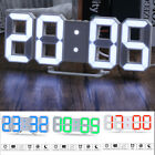 3D LED Digital Alarm Snooze Wall Clock Night Light Display Dimmable 12/24 Hour