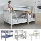 Double Bed Bunk Bed Triple 3 Pine Wood Kids White Children Bed Frame With Stairs