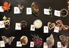 PICK A BROOCH PIN- VINTAGE -NOW -LEAF GOLF HORSE GRAPES LADY CAT TREE ROSE B44