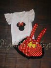 NEW Boutique Minnie Mouse Ruffle Shirt Suspender Shorts Girls Outfit Set