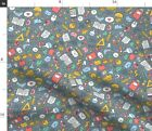 School Supplies Back To Kids Novelty Education Fabric Printed by Spoonflower BTY