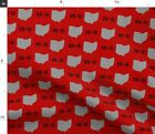 Ohio State Red Pride And Grey Print Gray Fabric Printed by Spoonflower BTY