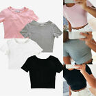 Women Casual Short Sleeve Blouse T-Shirt Bodycon Gym Yoga Sports Crop Tank Top