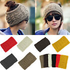 Womens Ponytail Beanie Hat Knitted Empty Skull Cap Winter Warm Stretchy Headband